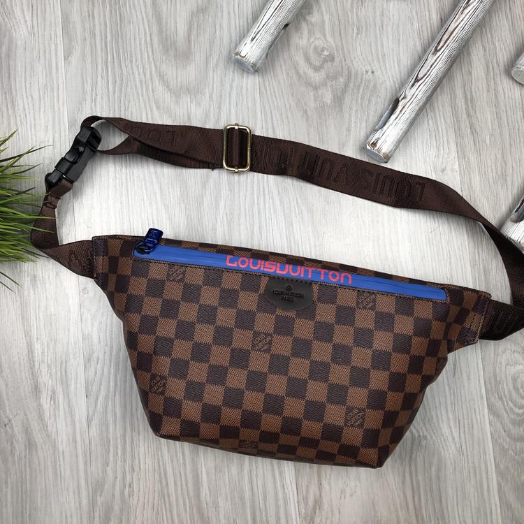 Красива Жіноча бананка Louis Vuitton коричнева Туреччина Якість поясна сумка на пояс VIP Луї Віттон репліка
