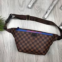 Красивая Женская бананка Louis Vuitton коричневая Турция Качество поясная сумка на пояс VIP Луи Виттон реплика, фото 1