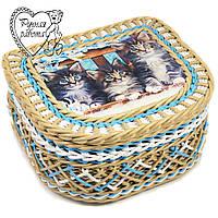 Шкатулка плетеная для косметики, резинок, заколок, швейных мелочей, бижутерии. Коты. Ручная работа.