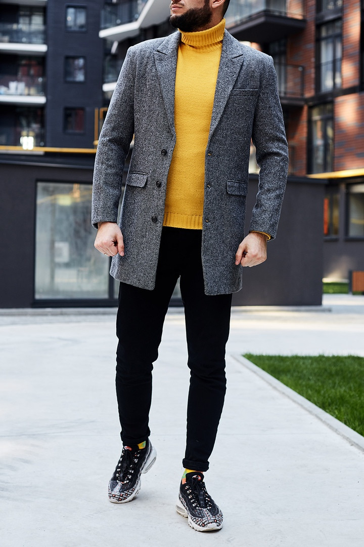 """Мужское пальто без бренда """"Gray"""""""