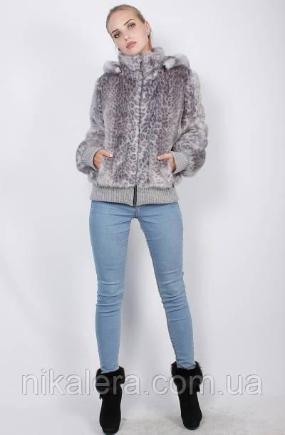 Молодежная шуба из эко меха голубой леопард 42-60рр