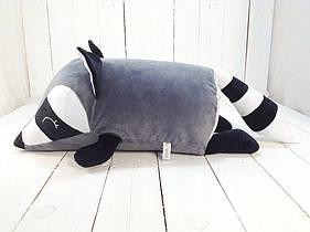 Мягкая игрушка подушка валик Strekoza Енот 45 см серый средний