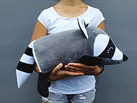 Мягкая игрушка подушка валик Strekoza Енот 45 см серый средний, фото 1