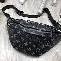 Брендовая Мужская бананка Louis Vuitton серая Турция Качество поясная сумка на пояс Модная Луи Виттон реплика, фото 1