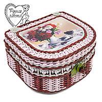 Шкатулка плетеная для косметики, резинок, заколок, швейных мелочей, бижутерии. Цветы. Ручная работа.