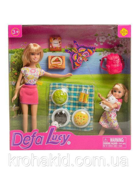 """Ігровий набір Defa Lucy """"Пікнік"""" / Лялька Defa Lucy 8282 з донькою і собачкою на пікніку"""