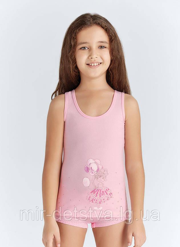 """Майки детские для девочек """"Девочка с шариками"""" ТМ Baykar, Турция оптом р.5 (146-152 см) ост. 1 шт молоко"""