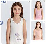 """Майки детские для девочек """"Девочка с шариками"""" ТМ Baykar, Турция оптом р.5 (146-152 см) ост. 1 шт молоко, фото 2"""