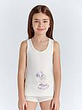 """Майки детские для девочек """"Девочка с шариками"""" ТМ Baykar, Турция оптом р.5 (146-152 см) ост. 1 шт молоко, фото 3"""