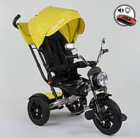 Детский трёхколёсный велосипед 4490 - 3948 Best Trike Желтый, поворотное сиденье, складной руль, пульт