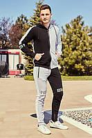 Мужской спортивный костюм двух нить  с капюшоном черный+серый (меланж)