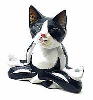 "Кот ""Йога""  деревянный черно белый(15х15х18 см)"