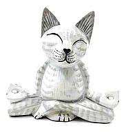 "Кот ""Йога""  деревянный белый(15х15х18 см)"