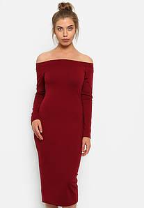 Платье обтягивающее  с открытыми плечами трикотажное 7 цветов