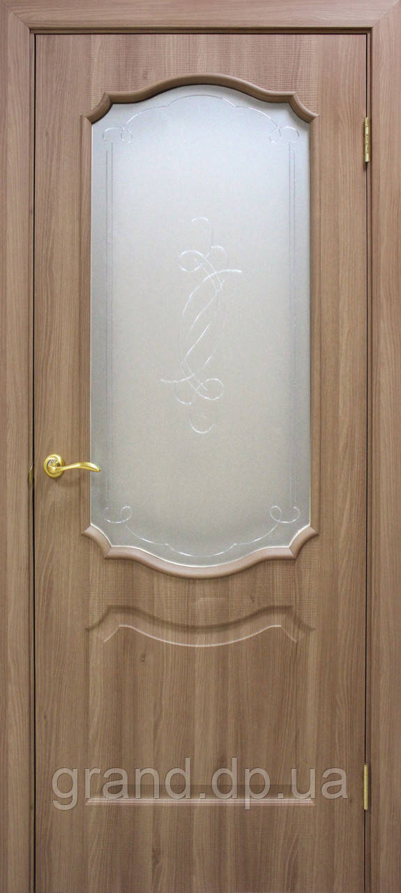 Двери межкомнатные Омис Прима ПВХ с рисунком на стекле, цвет дуб золотой