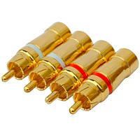 Штекер RCA профессиональный, gold, на кабель диам.-6,5мм, тип 2, позолоченный (набор 4шт.), PROSOUND