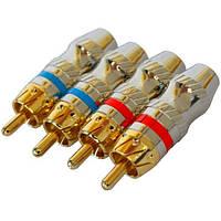 Штекер RCA профессиональный, gold, на кабель диам.-6,5мм, тип 3, позолоченный (набор 4шт.), PROSOUND