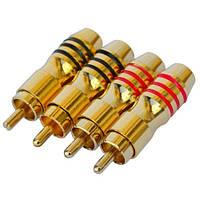 Штекер RCA профессиональный, gold, на кабель диам.-6,5мм, тип 4, позолоченный (набор 4шт.), PROSOUND