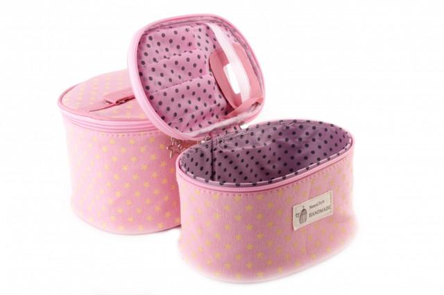 Косметичка Natural style розовая с желтыми звездочками 20.5 x 15 x 12.5 см