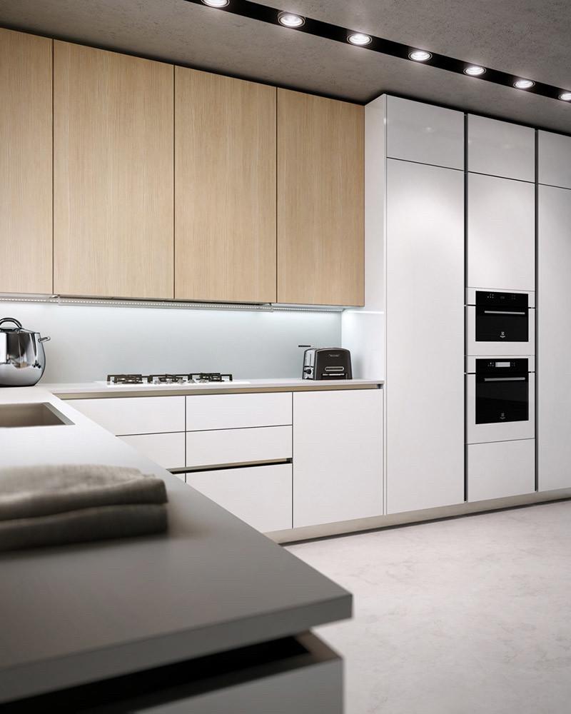 Кухня белая низ и пеналы. верх шпон дуба