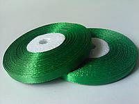 Лента атласная зеленая 6 мм бобина 33 м
