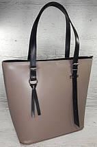 634-1 Натуральная кожа, Сумка-тоут трапеция женская кожаная сумка бежевая, женская сумка кожаная бежевая, фото 2