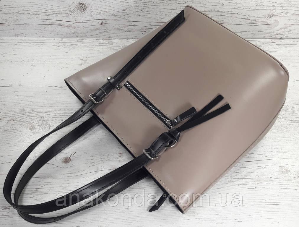 634-1 Натуральная кожа, Сумка-тоут трапеция женская кожаная сумка бежевая, женская сумка кожаная бежевая