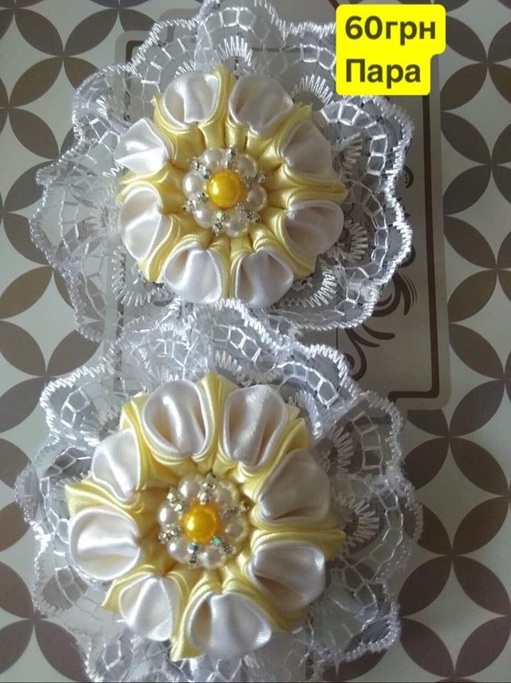 Резинка (заколка)Цветок бант с бусинами\2шт\ручная работа
