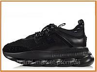 Мужские стильные кроссовки Versace Chain Reaction 2 triple black (версаче, черные)
