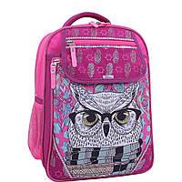 Школьный ортопедический рюкзак Bagland для девочек сова в очках малиновый розовый