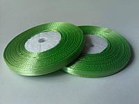 Стрічка атласна світло-зелена 6 мм бобіна 33 м