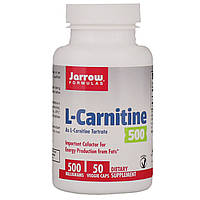 L-карнитин тартрат, L-Carnitine 500, Jarrow Formulas, 50 капсул