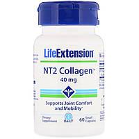 Коллаген для суставов, NT2 Collagen, Life Extension, 40 мг, 60 мини капсул