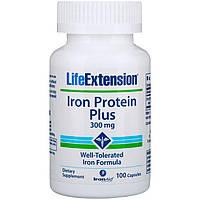 Железо, Iron Protein Plus, Life Extension, с протеином, 300 мг, 100 капсул
