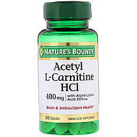 Ацетил -L карнитин, Acetyl L-Carnitine HCI, Nature's Bounty, 400 мг, 30 капсул