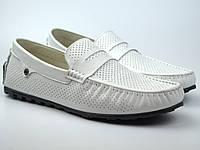 Мужские мокасины белые кожаные в перфорацию летняя обувь ETHEREAL Classic White Perf by Rosso Avangard, фото 1