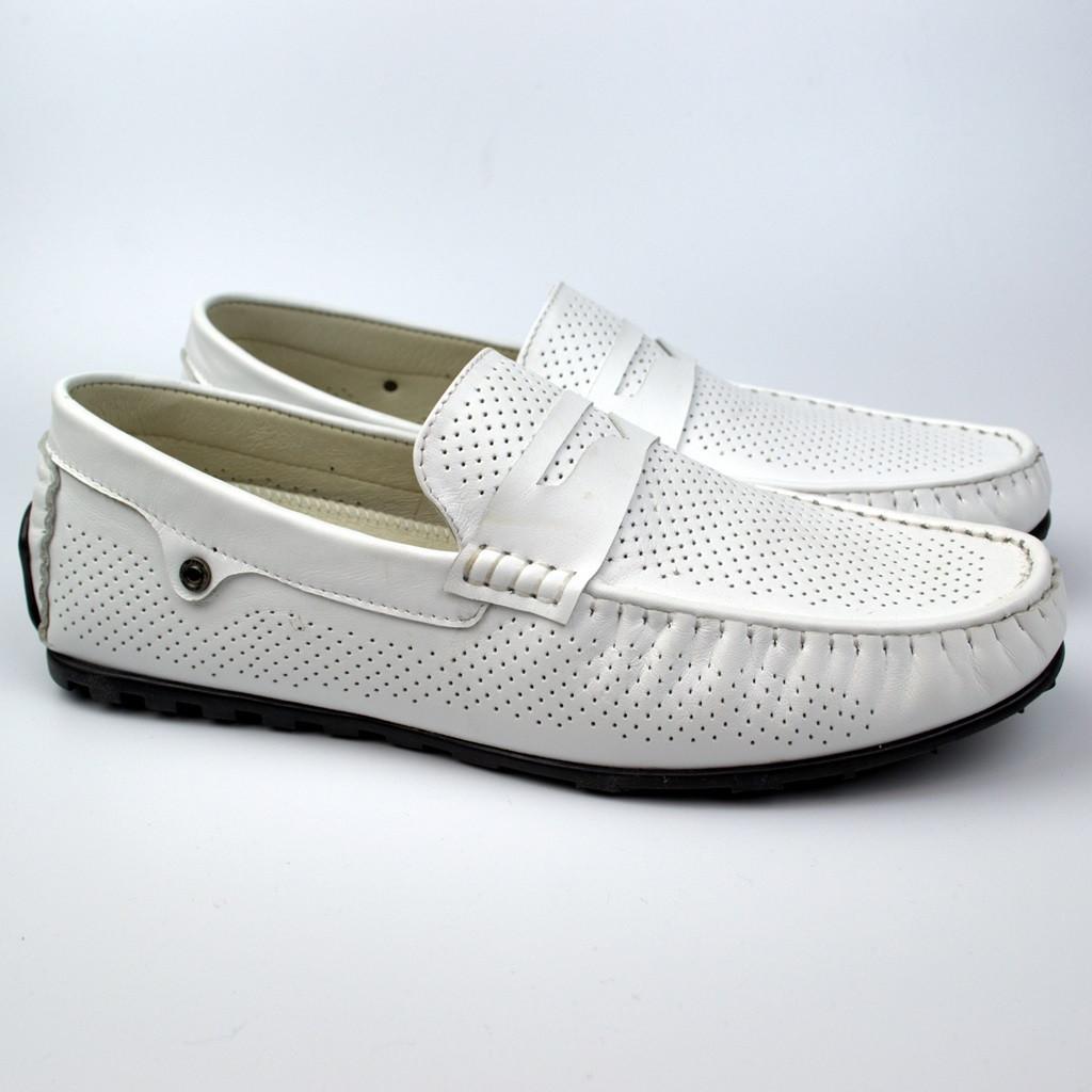 Мокасины белые летние обувь больших размеров мужская ETHEREAL BS Classic White Perf by Rosso Avangard