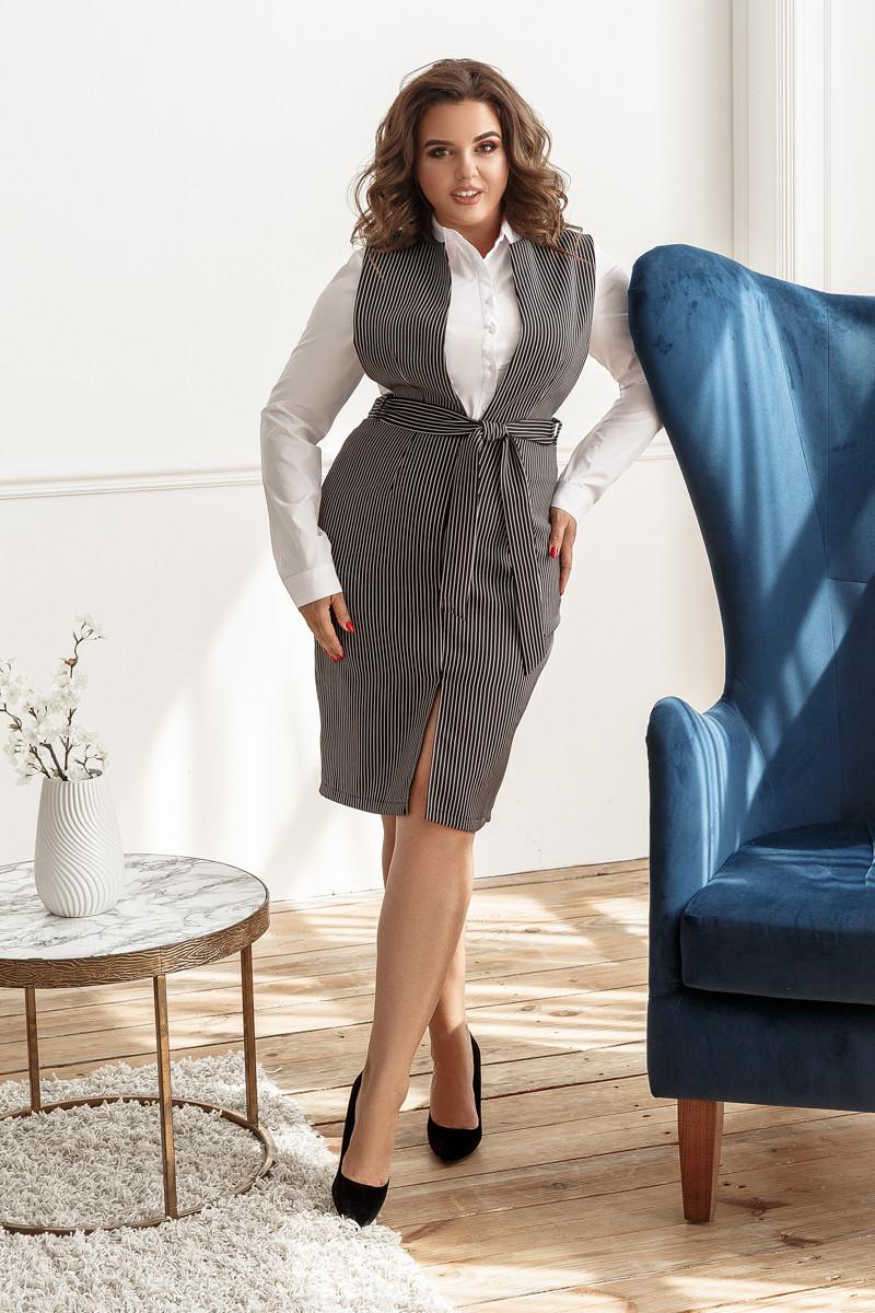 Платье-сарафан, №155, черное в полоску
