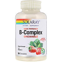Комплекс витаминов группы В, B-Complex Chewable, Solaray, вкус клубники, 50 таблеток