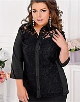 Женская рубашка с гипюровой отделкой, с 48-62 размер, фото 1