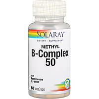 Витамины группы В, Methyl B-Complex 50, Solaray, 60 вегетарианских капсул