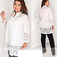 Женская рубашка-туника с гипюровой отделкой, с 48-62 размер, фото 1