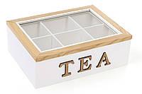 Коробка для чая деревянная (6 отделений) TEA со стеклянной крышкой BonaDi 493-702