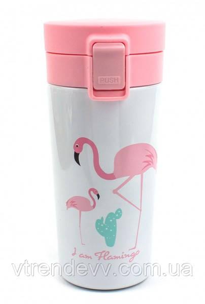 Термокружка для детей Flamingo Paradise Фламинго 380 мл детский термос Розовая