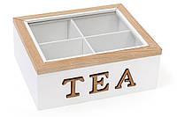 Коробка для чая деревянная (4 отделения) TEA со стеклянной крышкой BonaDi 493-703