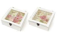 Коробка для чая деревянная со стеклянной крышкой Цветы, цвет - состаренный белый BonaDi 487-310