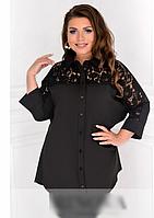 Жіноча сорочка-туніка з гипюровыми вставками, з 48-62 розмір