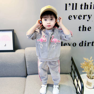 Дитячий теплий костюм на дівчинку фламінго, фото 2
