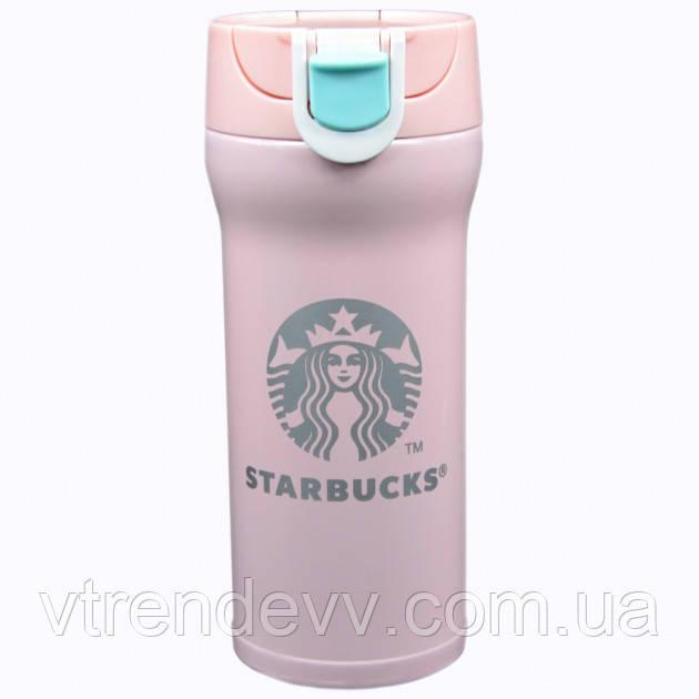 Термокружка термос Starbucks Старбакс 380 мл Розовая