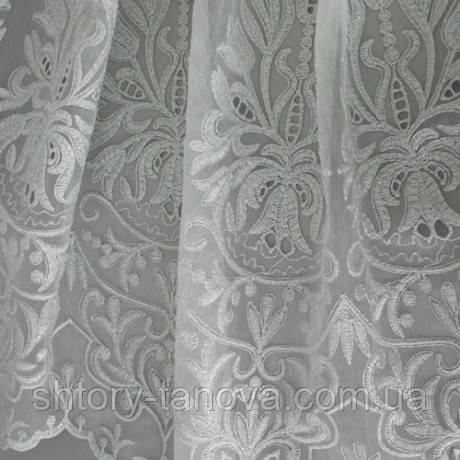 Тюль батист вышивка вензель ромео люрекс серебро